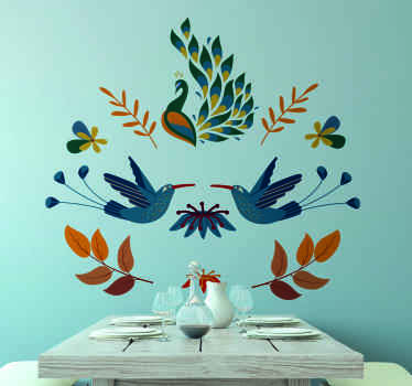 Animal wall sticker design featured with different animals like peacock, bird and ornamental flowers in tenango style. The product is self adhesive.