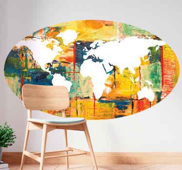 カラフルな絵のスタイルでデザインされたカラフルな世界地図ステッカー。製品は高品質のビニールでできており、簡単に適用できます。