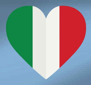 Una decalcomania in vinile per auto decorativa realizzata con un disegno a cuore in un colore bandiera italiana. è facile da applicare e disponibile in qualsiasi dimensione richiesta.