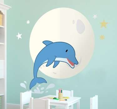 Delfin og månen fisk væg klistermærke
