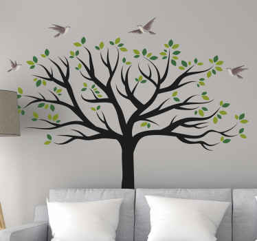 Self adhesive tree wall art sticker design of a big tree with branches and birds flying all over it. It is easy to apply and of high quality vinyl.