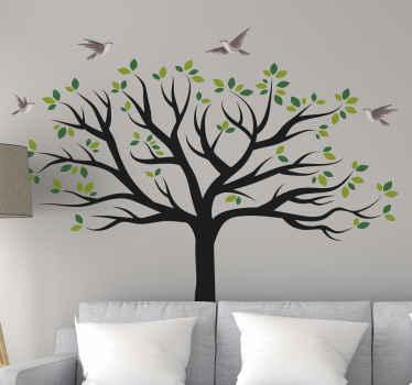 枝と鳥がその上を飛んでいる大きな木の自己接着木壁アートステッカーデザイン。適用が簡単で、高品質のビニール製です。