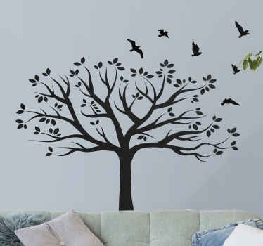 Decorative tree wall art sticker design of a big tree with branches and birds flying all over it. It is suitable for living room and any other space.