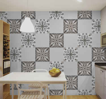 Decorative tile wall sticker design of patterned ornamental flower. The application is easy, it is self adhesive and of top quality vinyl.