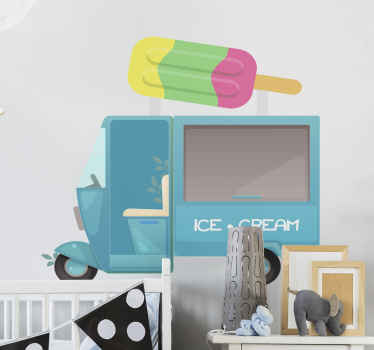 An illustrative ice cream truck sticker design for children. Fun and interesting  deign for children bedroom space. It is easy to apply and adhesive.