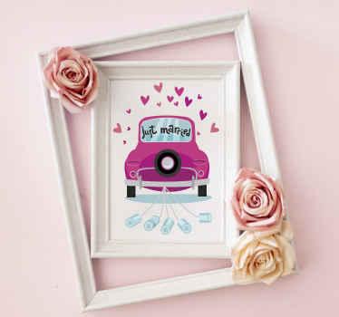 Mooie decoratieve just married tekst sticker om trouwlocaties en receptie voor huwelijksceremonies te versieren. Het is gemakkelijk aan te brengen en van hoge kwaliteit.
