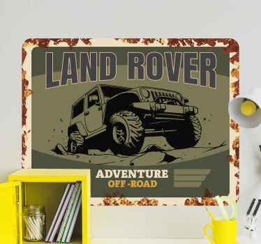 A car theme wall sticker design of a land rover with text inscription about adventure. It is easy to apply and available in any required size.