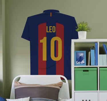 バルセロナチームプレーヤーの名前のサッカーシャツの壁のステッカーのデザインをカスタマイズします。このクラブのファンである10代と若い1人のためのデザイン。