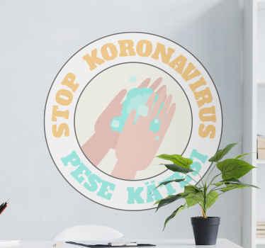 Ett ikoniskt vinylklistermärke med rund ikon för ikon med textdesign '' stopp koronavirus. Det är enkelt att applicera och finns i alla storlekar som behövs.