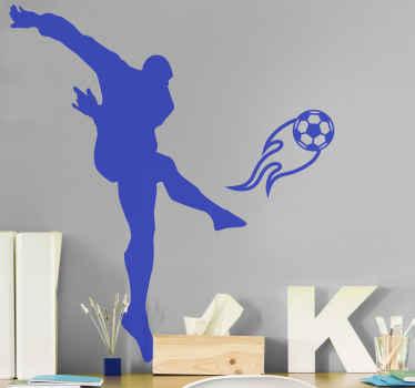十代の部屋の装飾に素晴らしい装飾的なシルエットのサッカー選手のシルエットデカールデザイン。適用が簡単で品質が良い。