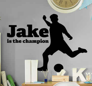 A football player silhouette sticker design amazing for teen room decoration. It is customisable with any name and available in 50 different colours.