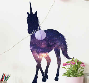 An abstract animal wall art decal design of a unicorn with space appearance. It is easy to apply and available in any size required.