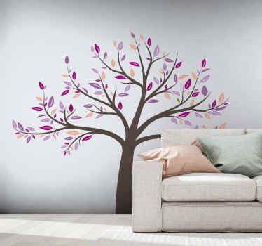 繁栄のピンクの木の植物のステッカーデザインのリビングルームの壁のステッカーの装飾的なアイデアのデザイン。適用が簡単で品質が良い。
