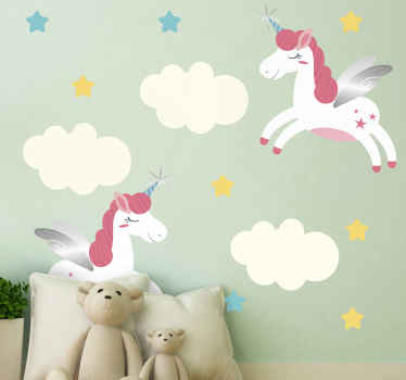 Is your child a unicorn fan? then complete the fantasy in our pretty decorative unicorn fairy take sticker featured with stars and cloud.