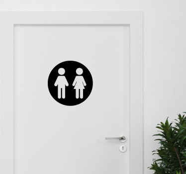 Iconic toilet sign door decal featured with the icon of a man and woman, ideal for both home and pubic, and business space.