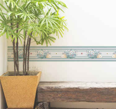 Preciosa cenefa adhesiva patrón puercoespín de color azul para que decores tu casa a tu gusto. Medidas personalizadas ¡Envío a domicilio!