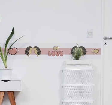 自宅やオフィスの壁のスペースを飾るための美しいヤマアラシの壁ボーダーステッカーデザイン。デザインは高品質のビニールで作られています。