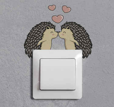 Decorative illustrative porcupine love design for light switch. It is easy to apply and available in any size required. Made of high quality vinyl.