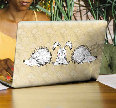 Porcupine and rabbits laptop sticker created on a yellow background with porcupines, rabbit and ornamental flower print.