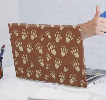 Un sticker ordinateur portable pour décorez et customiser votre appareil. Ce sticker décoratif est conçu avec un fond marron et des pattes de hérisson. Application facile !