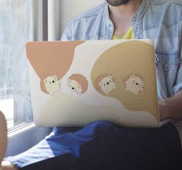 Un sticker ordinateur portable pour personnaliser et décorer votre appareil. Ce sticker décoratif est conçu avec de petits hérissons dans un fond coloré. Application facile.