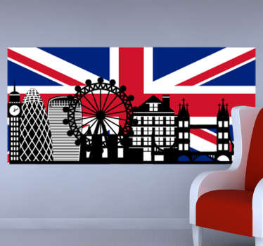 Vinilo decorativo Big Ben con bandera