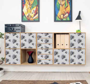 Un sticker meuble porc-épic. Ce sticker décoratif est conçu en noir et blanc avec divers porc-épic. Il est facile à appliquer et auto-adhésif.