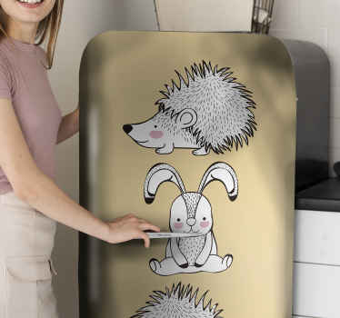 Decorate your appliance space with our original porcupine and rabbit decal design. It is easy to apply and of great quality.