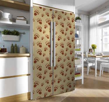 Een geweldige decoratieve pootafdruk koelkast sticker van voetafdrukken van stekelvarkens in rode kleur. Het is origineel en gemakkelijk aan te brengen. Verkrijgbaar in elke gewenste maat.