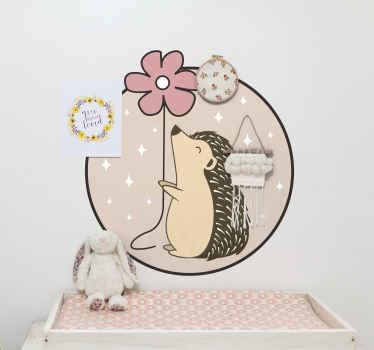 Decora la habitación de tu hija con este vinilo decorativo para niñas con puercoespín dentro de círculo de color rosa y margarita ¡Compra online!