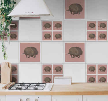 Diseño de azulejos vinilicos para cocina o baño con patrón de puercoespines con púas y con fondo rosa. Elige pack ¡Envío a domicilio!