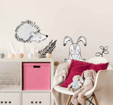 Cute decorative animal wall sticker design of a porcupine, rabbit and ornamental flower.  A design to beautify the bedroom space of kids.
