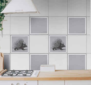 Black and white porcupine tile sticker design for bathroom, kitchen and any other. It is easy to apply and of great quality.