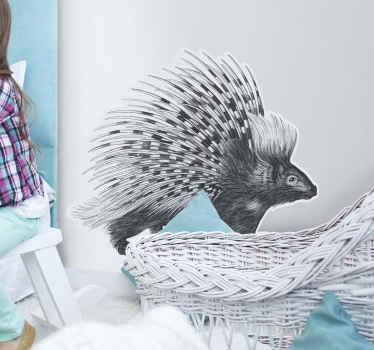 Diseño de vinilo de animales con puercoespín en estilo artístico y en colores blanco y negros para cualquier estancia del hogar ¡Envío a domicilio!