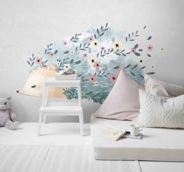 Vinilo para niños con puercoespín artístico con flores en las púas que crea un fantástico diseño para habitación infantil ¡Envío a domicilio!