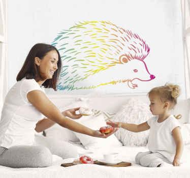 Un sticker hérisson multicolore pour apporter de la couleur à votre intérieur. Un joli sticker mural que vous pouvez appliquer sur n'importe quelle surface plane. Application facile.