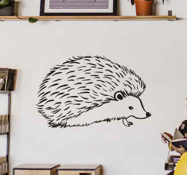 Un sticker mural hérisson pour la décoration de votre intérieur. Il est disponible en différentes couleurs et tailles. Application facile !