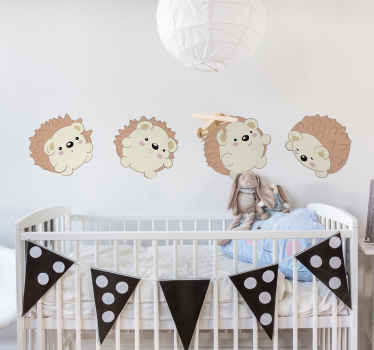 Vinilo habitación bebé de conjunto de puercoespines revoloteándose y jugando para decorar el cuarto de tu pequeño ¡Envío a domicilio!