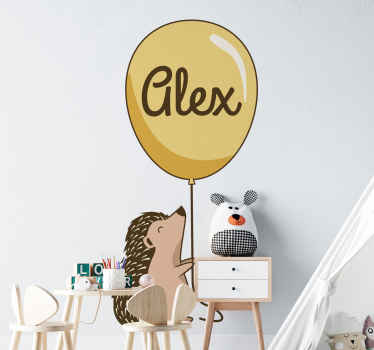 Porcupine with personalized name balloon wall sticker. It is easy to apply and made from high best of quality material. Available in any size.