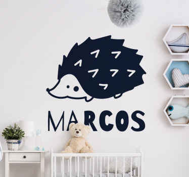 Vinilo habitación bebé con nombre personalizado creado con el dibujo de un puercoespín. Elige color y medidas ¡Envío a domicilio!