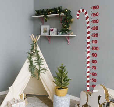 An amazing design to thrill children as Christmas decoration. The  design is a big candy  stick  with number calibration like a height chart.