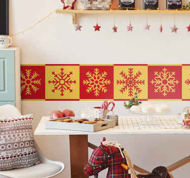Beautiful snowflakes border sticker design to beautiful a wall space. The design features two background of yellow and red with snowflakes design.