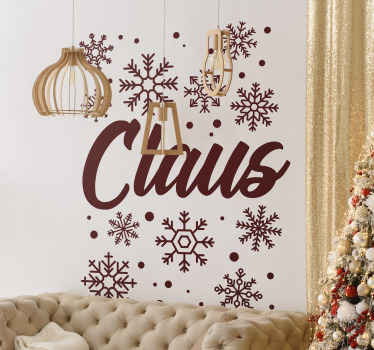 Personalized name Christmas sticker design for home decoration.  A design created with shinning snowflakes effect with a name inscription.