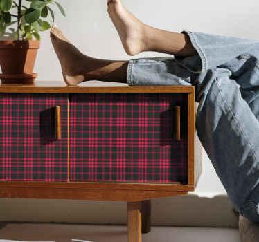 Decoratief tartan patroon sticker voor meubels met een ruitjespatroon. Dit ontwerp is gestript in rode en zwarte kleur. , gemakkelijk aan te brengen en van kwaliteit.