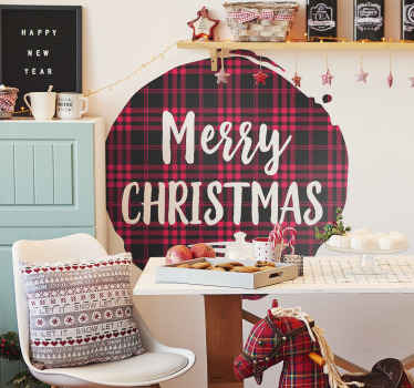 Christmas tartan pattern text Christmas sticker. A round surface background with tartan pattern, it is inscribed with ''merry Christmas'' text.