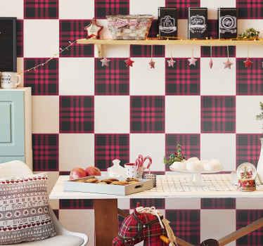 Vinilo infantil con patrón de tartán con diseños navideños de color rojo y negro para decorar el cuarto de tu pequeño ¡Envío a domicilio!
