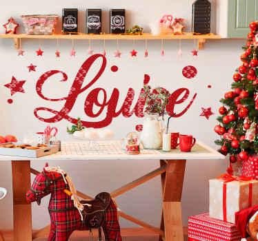 Pas elke gewenste ruimte aan in dit mooie kerst design met naam sticker. Inscriptie met kerstboomtextuur in rode kleur.