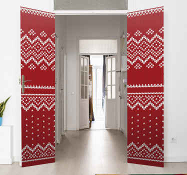 A fascinating Christmas tree red pattern door sticker design to cover the space of door as Christmas decoration. It is easy to apply and of quality.