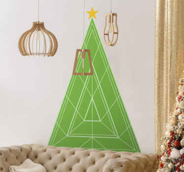 Ornamental Christmas tree decal for home decoration. The design is made in green colour in a geometric triangle pattern.