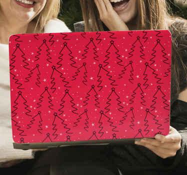 Kerstboom lijn patroon laptop sticker. Het ontwerp is gemaakt met een rode achtergrond met prints van siergetekende likes die kerstboom vormen.
